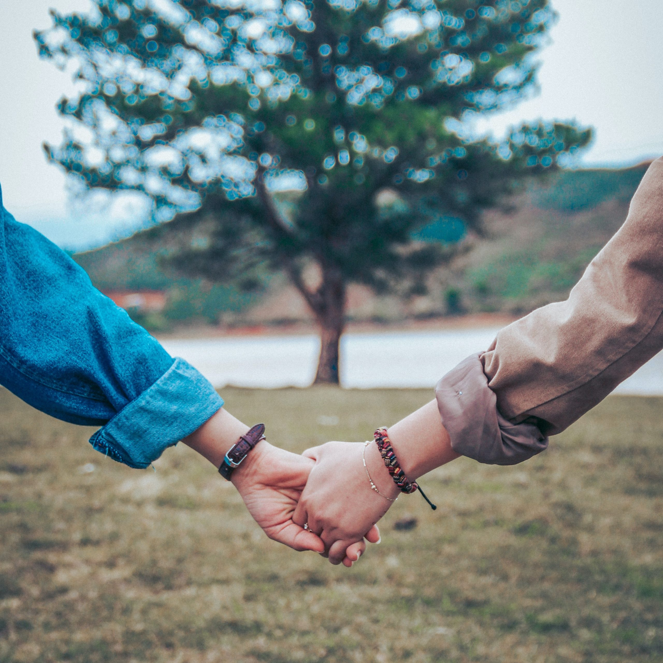 man and woman holding hands walking towards a tree and grateful for their relationship with natural living