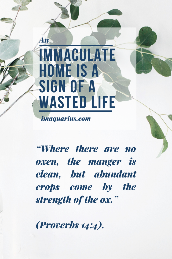 an immaculate home is a sign of a wasted life and quote that where there are no oxen the manger is clean